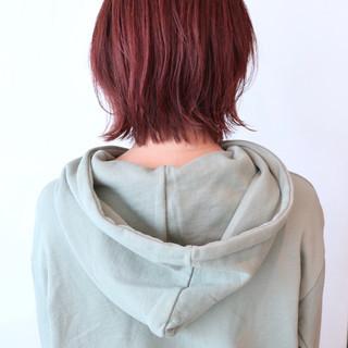 ベリーピンク ミニボブ ストリート ラベンダーピンク ヘアスタイルや髪型の写真・画像