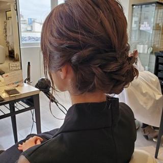 結婚式ヘアアレンジ アップスタイル ヘアセット セミロング ヘアスタイルや髪型の写真・画像