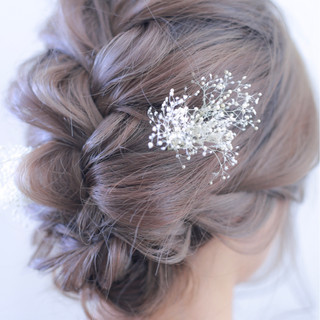 編み込み 結婚式 セミロング ヘアアレンジ ヘアスタイルや髪型の写真・画像