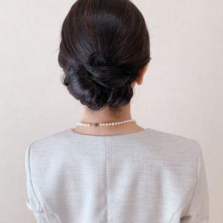 ヘアアレンジ セミロング エレガント お呼ばれ ヘアスタイルや髪型の写真・画像