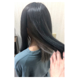 アッシュ セミロング 大人かわいい フェミニン ヘアスタイルや髪型の写真・画像