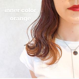 ストリート インナーカラー ダブルカラー オレンジベージュ ヘアスタイルや髪型の写真・画像