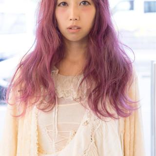パープル グラデーションカラー ピンク 大人女子 ヘアスタイルや髪型の写真・画像