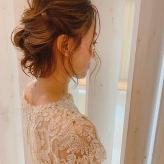 結婚式髪型 ナチュラル ヘアアレンジ ボブ ヘアスタイルや髪型の写真・画像