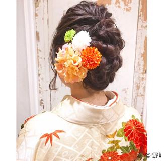 セミロング ヘアアレンジ 編み込み 袴 ヘアスタイルや髪型の写真・画像