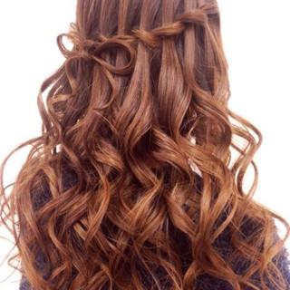 ヘアアレンジ ロング ハーフアップ ウォーターフォール ヘアスタイルや髪型の写真・画像