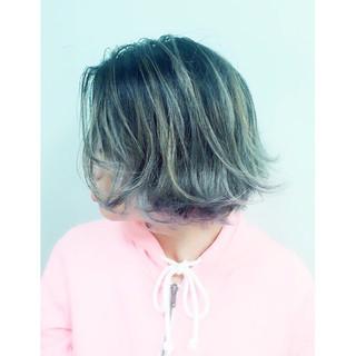 ハイライト ボブ アッシュ グラデーションカラー ヘアスタイルや髪型の写真・画像