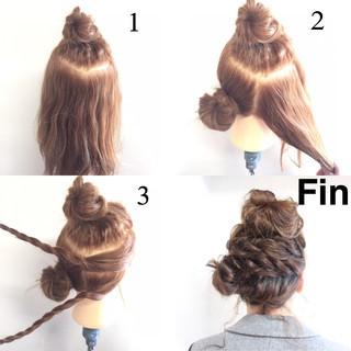 ショート パーマ お団子 ミディアム ヘアスタイルや髪型の写真・画像