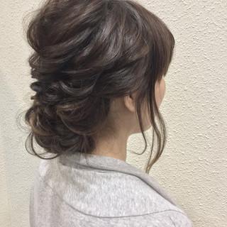 結婚式 セミロング ヘアアレンジ 大人かわいい ヘアスタイルや髪型の写真・画像