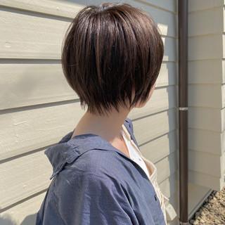 切りっぱなしボブ ショートヘア ミニボブ ショート ヘアスタイルや髪型の写真・画像