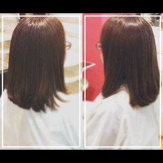 髪質改善トリートメント 髪質改善 セミロング ナチュラル ヘアスタイルや髪型の写真・画像