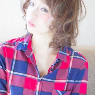 ゆるふわ ガーリー パーマ ミディアム ヘアスタイルや髪型の写真・画像