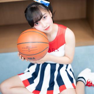 セミロング ガーリー スポーツ ヘアアレンジ ヘアスタイルや髪型の写真・画像