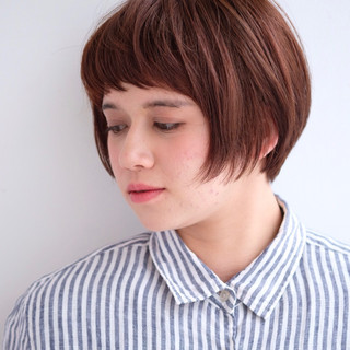 ショート ショートバング 前髪あり ショートボブ ヘアスタイルや髪型の写真・画像 ヘアスタイルや髪型の写真・画像
