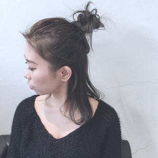 暗髪 ミディアム ショート ヘアアレンジ ヘアスタイルや髪型の写真・画像