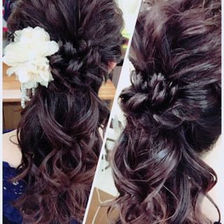 結婚式 ポニーテール ロング ガーリー ヘアスタイルや髪型の写真・画像