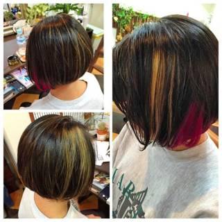 インナーカラー ストリート ダブルカラー 黒髪 ヘアスタイルや髪型の写真・画像