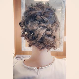 ミディアム ショート 簡単ヘアアレンジ ブラウン ヘアスタイルや髪型の写真・画像