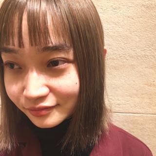 シースルーバング ぱっつん 前髪 ワイドバング ヘアスタイルや髪型の写真・画像