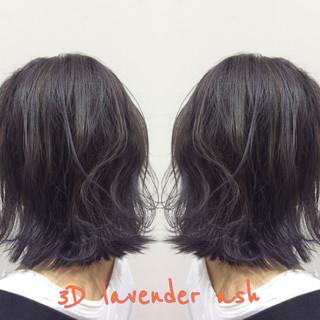 ラベンダーアッシュ ヘアカラー 外国人風 暗髪 ヘアスタイルや髪型の写真・画像