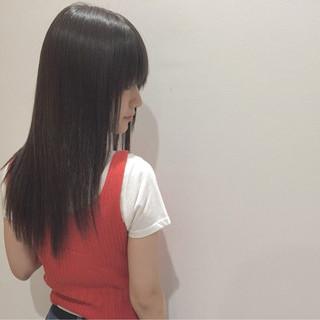 セミロング 縮毛矯正 ナチュラル 艶髪 ヘアスタイルや髪型の写真・画像
