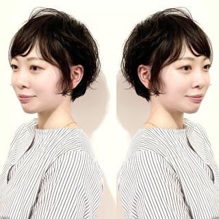 ナチュラル 丸みショート ショート 黒髪 ヘアスタイルや髪型の写真・画像