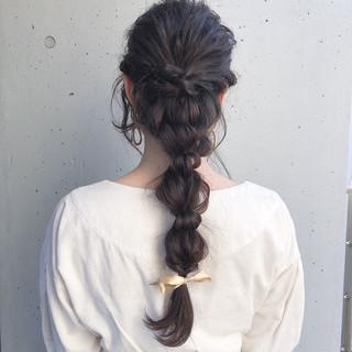 簡単ヘアアレンジ 編みおろし 黒髪 ヘアアレンジ ヘアスタイルや髪型の写真・画像