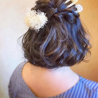 フェミニン ヘアアレンジ 和装ヘア ボブ ヘアスタイルや髪型の写真・画像 ヘアスタイルや髪型の写真・画像