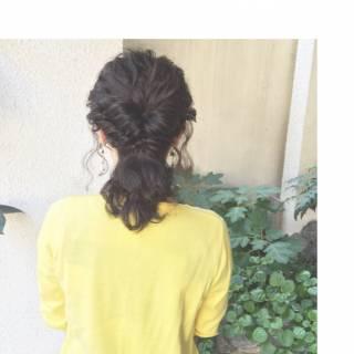 秋 パーティ 編み込み ミディアム ヘアスタイルや髪型の写真・画像