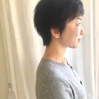 ベリーショート 黒髪 フェミニン ショート ヘアスタイルや髪型の写真・画像