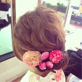 夏 波ウェーブ お祭り ヘアアレンジ ヘアスタイルや髪型の写真・画像