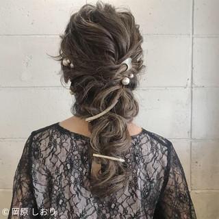 セミロング 結婚式 エレガント ヘアアレンジ ヘアスタイルや髪型の写真・画像