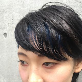 ショート 暗髪 モード ブルー ヘアスタイルや髪型の写真・画像 ヘアスタイルや髪型の写真・画像