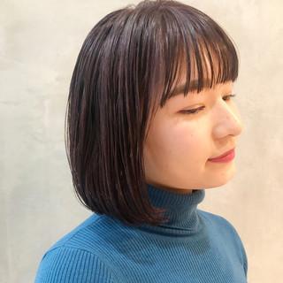 ボブ パープルアッシュ ショートボブ ナチュラル ヘアスタイルや髪型の写真・画像