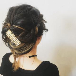 簡単ヘアアレンジ ヘアアレンジ アウトドア フェミニン ヘアスタイルや髪型の写真・画像