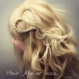 モテ髪 ヘアアレンジ ガーリー セミロング ヘアスタイルや髪型の写真・画像