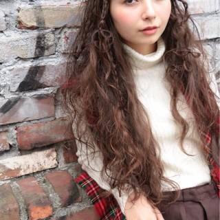 秋 ロング ストレート 三つ編み ヘアスタイルや髪型の写真・画像