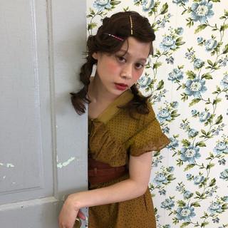 簡単ヘアアレンジ ショート ミディアム ガーリー ヘアスタイルや髪型の写真・画像
