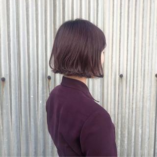 ボルドー ボブ ガーリー パープル ヘアスタイルや髪型の写真・画像