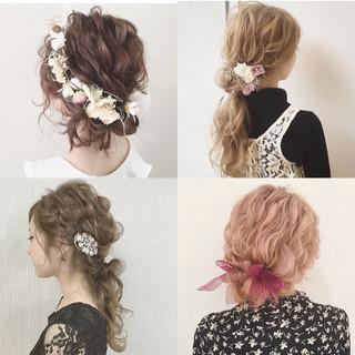 セミロング ヘアアレンジ ガーリー 結婚式 ヘアスタイルや髪型の写真・画像 ヘアスタイルや髪型の写真・画像