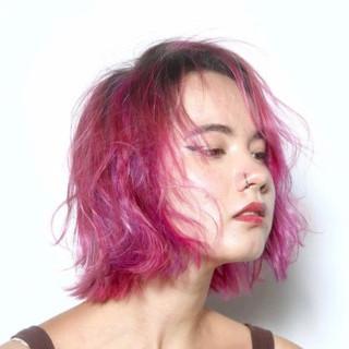 ボブ ハイライト ダブルカラー ストリート ヘアスタイルや髪型の写真・画像