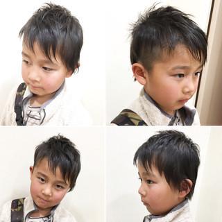 坊主 ショート アシメバング 子供 ヘアスタイルや髪型の写真・画像