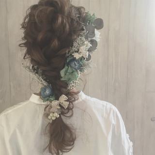 結婚式 編み込み フェミニン ヘアアレンジ ヘアスタイルや髪型の写真・画像