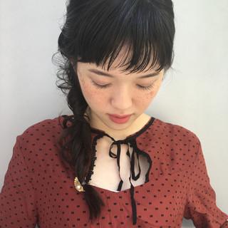デート ガーリー セミロング ヘアアレンジ ヘアスタイルや髪型の写真・画像