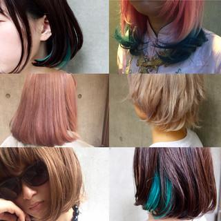 アッシュ グラデーションカラー ボブ ハイライト ヘアスタイルや髪型の写真・画像