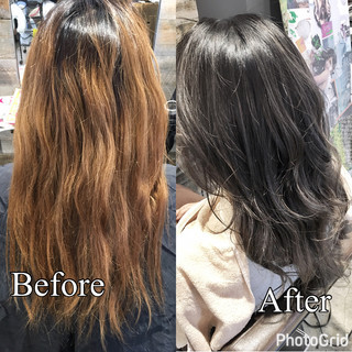 斜め前髪 外国人風 ハイライト リラックス ヘアスタイルや髪型の写真・画像
