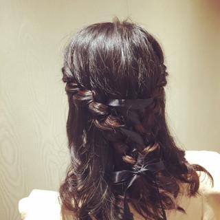ミディアム ヘアアレンジ フェミニン 結婚式 ヘアスタイルや髪型の写真・画像