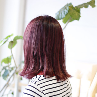ボブ レッド 透明感 ピンク ヘアスタイルや髪型の写真・画像