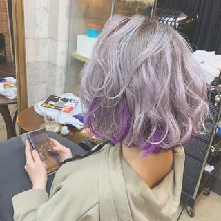 カラーバター ホワイト ハイトーンカラー パープル ヘアスタイルや髪型の写真・画像