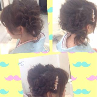 アップスタイル ヘアアレンジ 簡単ヘアアレンジ 編み込み ヘアスタイルや髪型の写真・画像